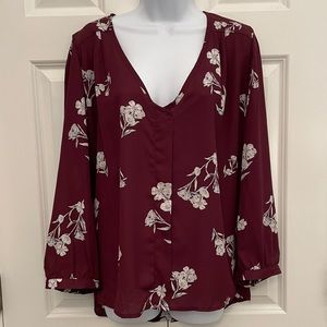 Collective Concepts Burgundy Floral Top XXL